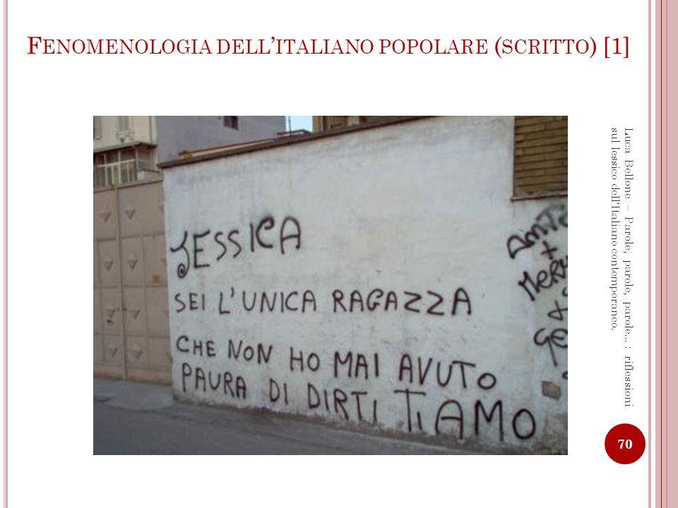 Fenomenologia dell'italiano popolare (scritto) [1]